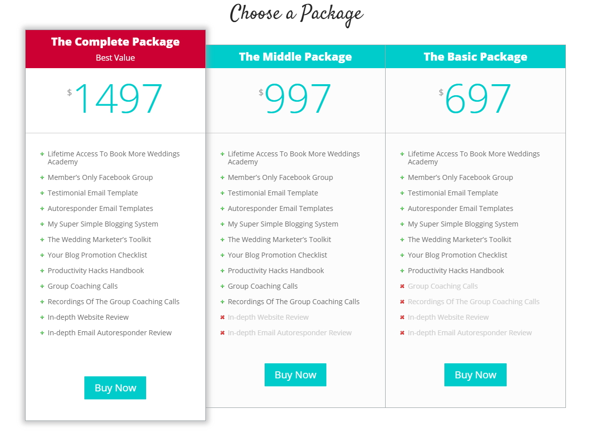 Pricing Table sample