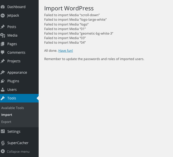 failed to import images2
