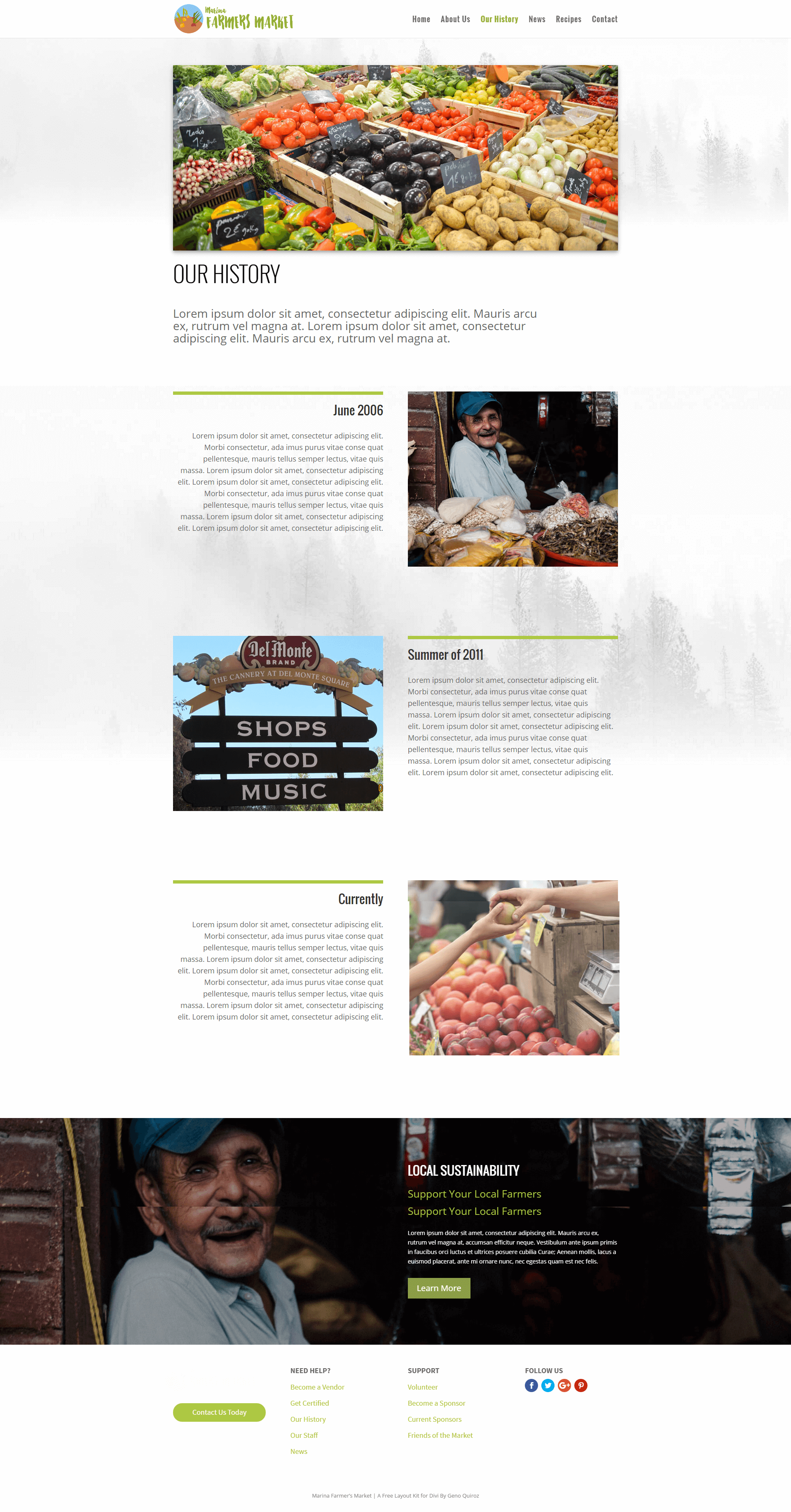 Our History Page