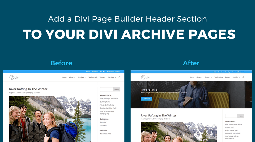 Add a Divi Library Header Section to the Top of your Archive Pages