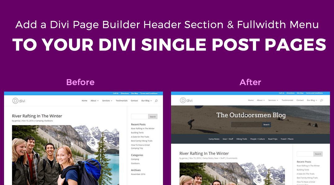 Add a Header Section & Fullwidth Category Menu to the Top of your Single Post Pages Featured