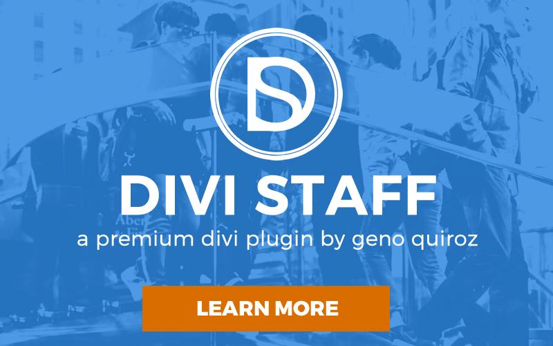 Divi Staff - A Premium Plugin by Geno Quiroz
