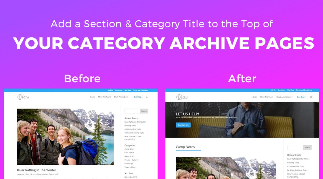 Add a Section and Category Title to the Top of your Category Pages