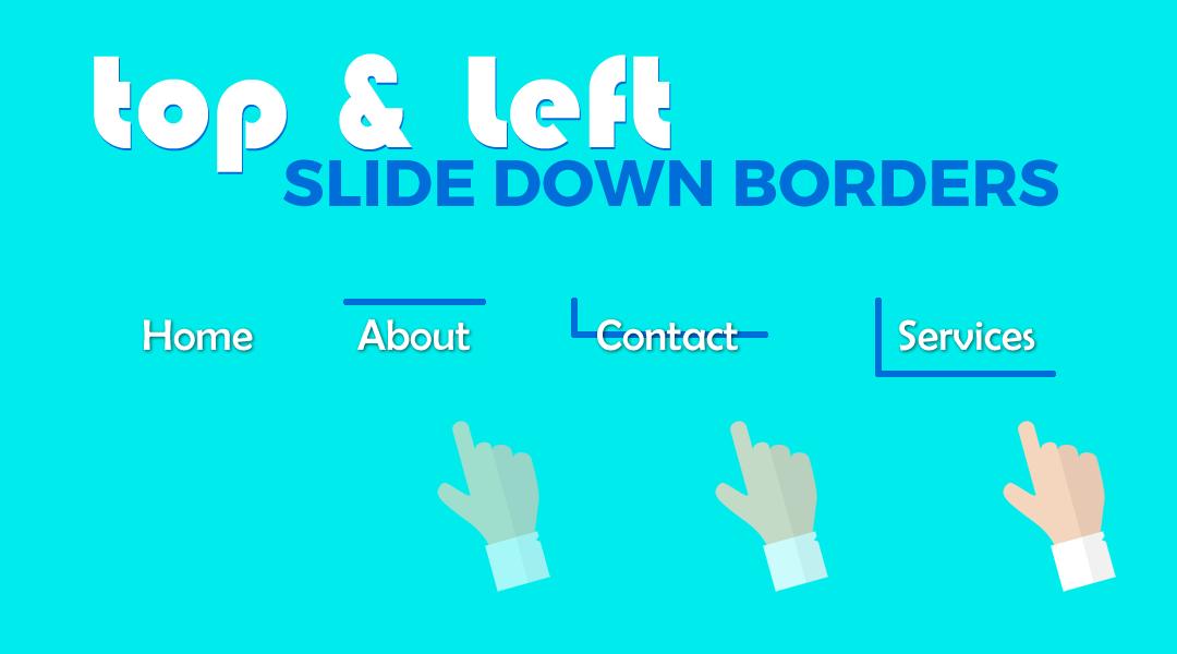 Divi Menu Slide Down Top & Left Border
