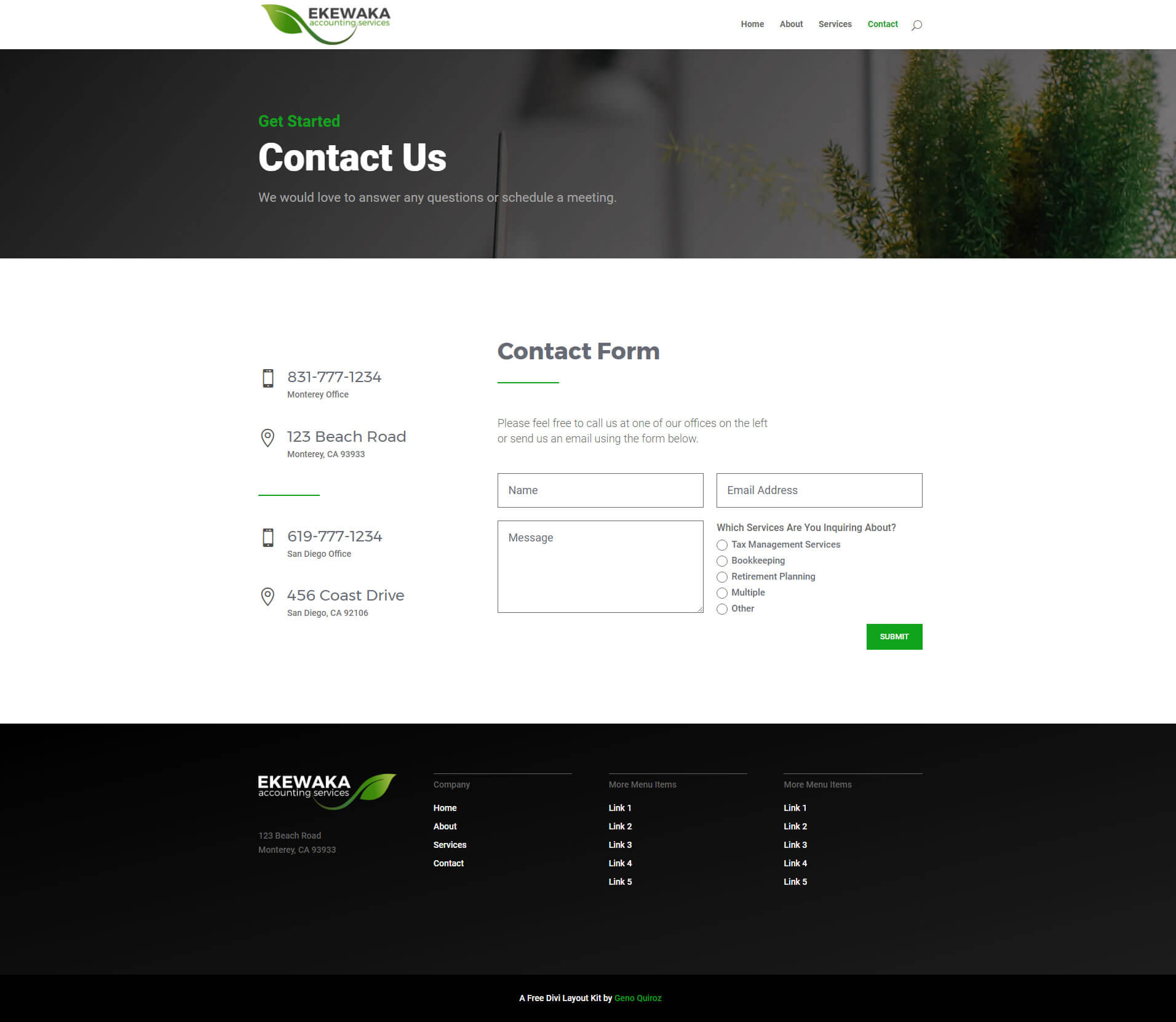 Green Business Divi Layout Kit Contact Page