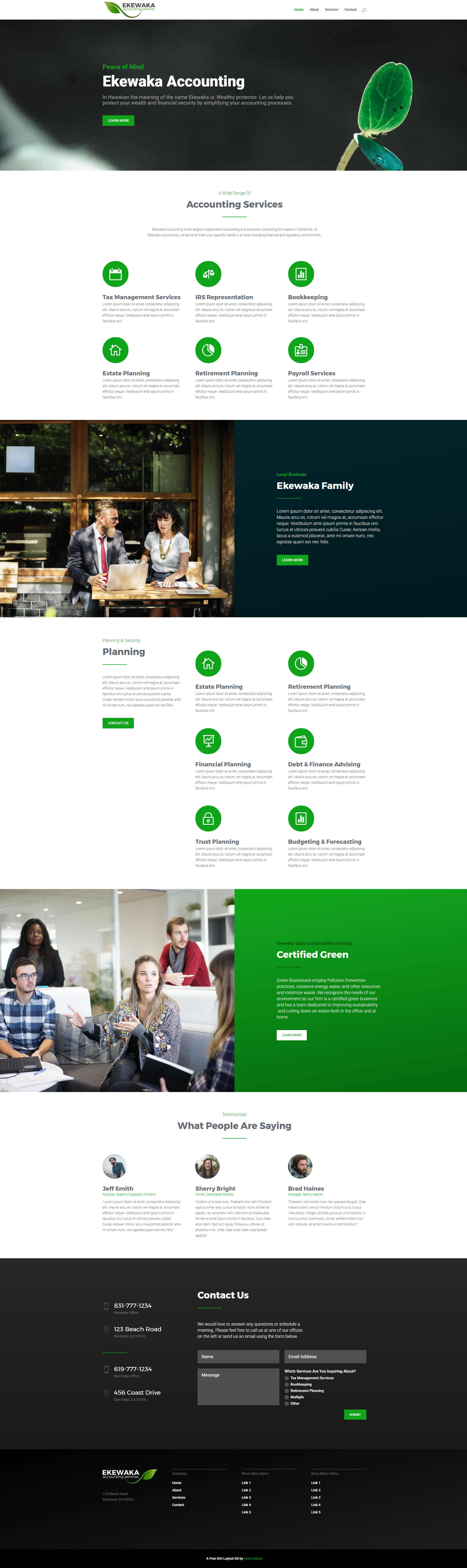 Green Business Divi Layout Kit Home Page