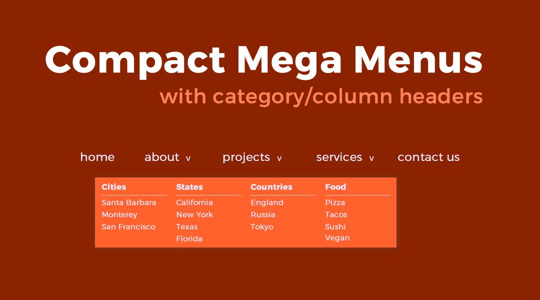 Compact Divi Mega Menus and Sub Menus