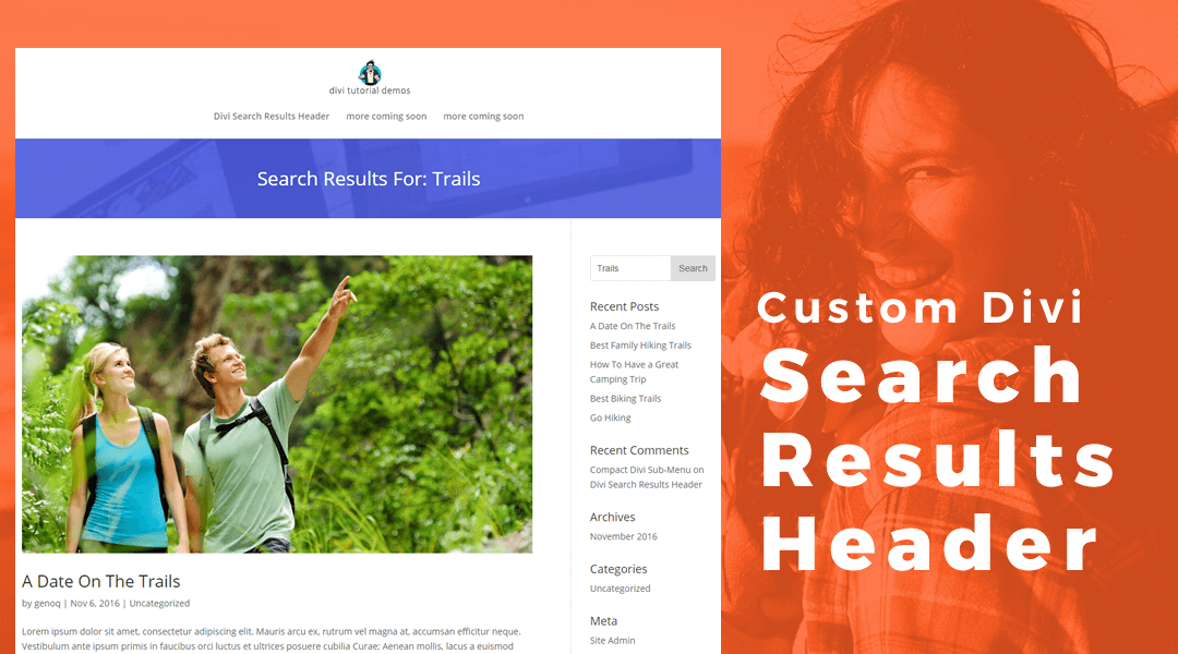 Add A Divi Header Layout From Your Divi Library To The Search Results Pages Using Divi Hooks