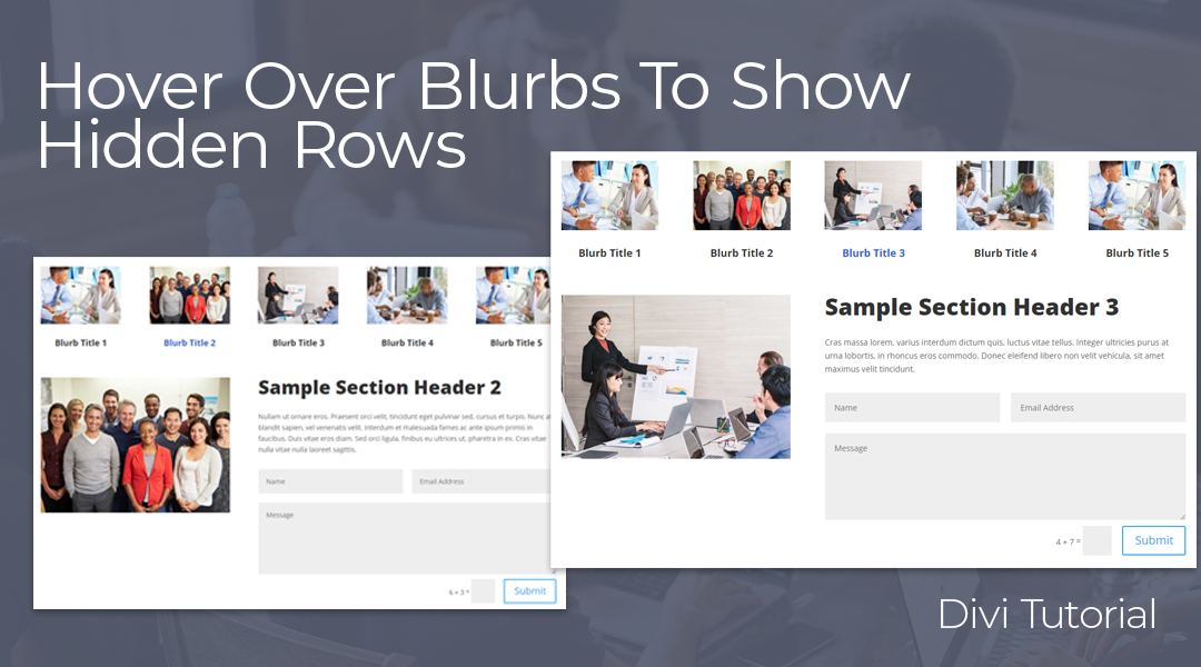 Hover Over Blurb To Reveal Hidden Rows in Divi